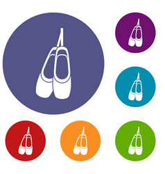 pointe shoes icons set vector image