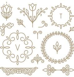 set of line design elements vector image