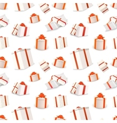 White gift boxes with red tapes and bows seamless vector image