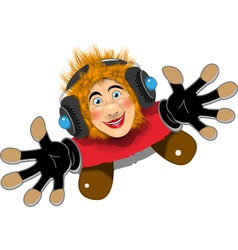Cheerful Redhaired DJ vector image