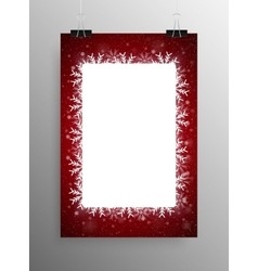 Poster frame falling snow red background vector
