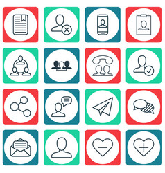 set of 16 social network icons includes speaking vector image vector image