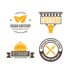 set of restaurant shop design element in vintage vector image vector image