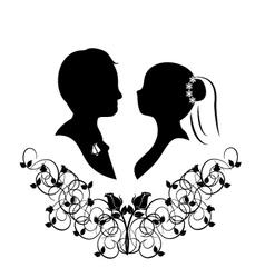 wedding silhouette 4 vector image vector image