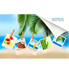 Background with photos from holidays on a seaside vector image