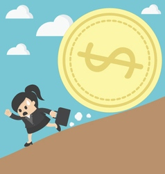 business woman run money trap vector image