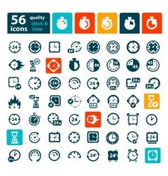 color clock icons set vector image vector image