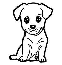 cute dog coloring page vector image vector image