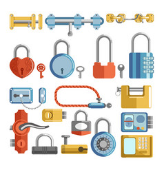 door locks and padlock latches keys retro vector image vector image