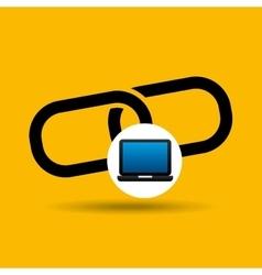 laptop icon chain link social media vector image vector image