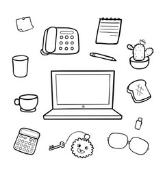 office equipment doodle drawing vector image vector image