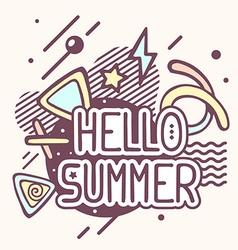 retro color hello summer quote on abstrac vector image vector image
