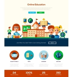 Scool education website header banner with vector image vector image