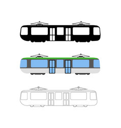 set of flat tram icon cartoon outline vector image