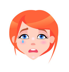 woman crying face with pink cheeks and tear vector image