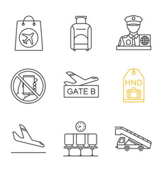 Airport service linear icons set vector