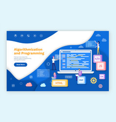 algorithmization and programming people coders vector image