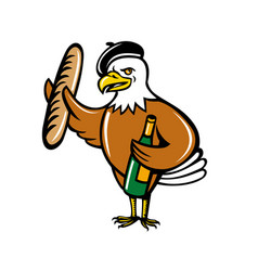 american eagle beret baguette wine cartoon vector image