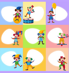 Background template with funny clowns vector