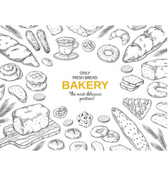 Bakery frame hand drawn bread and cookies banner vector