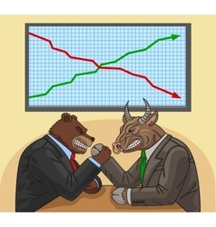 Bear and bull on the stock exchange vector
