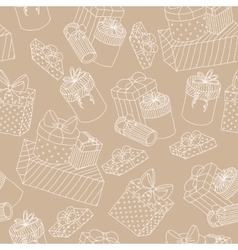 beige seamless pattern with boxes presents vector image