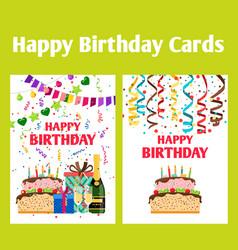 birthday greeting cards set vector image