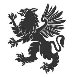 Black heraldic griffin02 vector