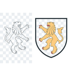 black heraldic rampant lion 04 vector image