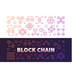 block chain cryptocurrency colored outline vector image