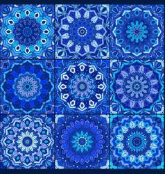 Blue tile pattern boho background vector