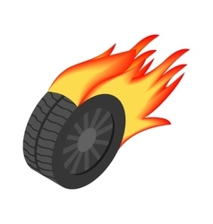 Burning wheel isometric 3d icon vector image