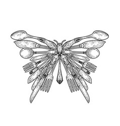 Butterfly silhouette made cutlery sketch vector
