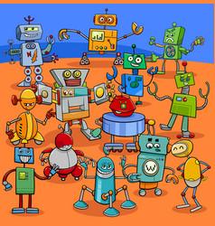 Cartoon robot characters big pack vector