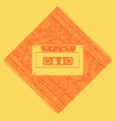 cassette icon audio tape sign red vector image