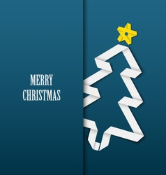 Christmas card with folded white paper tree on a vector