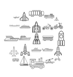 civilian vehicle icons set outline style vector image