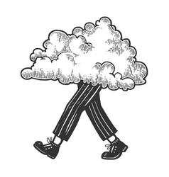cloud walks on its feet sketch engraving vector image