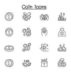 coin icon set in thin line style vector image