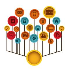 Color tech icons web site vector