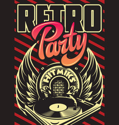 color template for retro party advertising poster vector image
