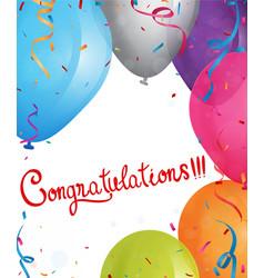 congratulations design with ribbon and confetti vector image