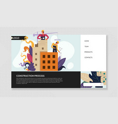 construction process online web page template vector image