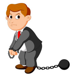Corruption businessman with ball and chain vector