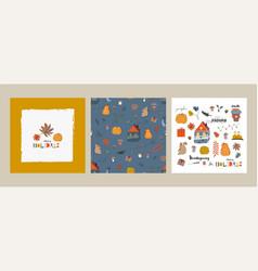 cute autumn collection card templates seamless vector image