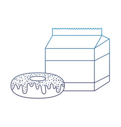 Degraded line sweet donut with milk box snack vector