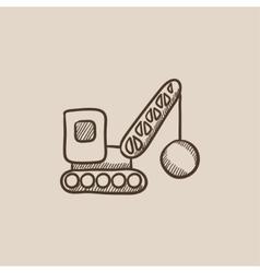 Demolition crane sketch icon vector