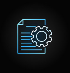 document with cog colored icon in thin line vector image