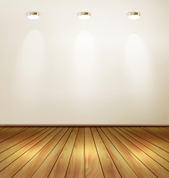 Empty room with wall and yellow wooden floor vector