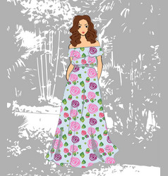 Fashionable romantic girl in floral maxi dress vector